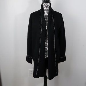 Magaschoni Womens Black Knit Open Front Cardigan M